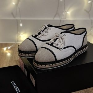 Chanel Espadrilles Lace Up Cotton Loafers